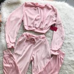 Conjunto Cropped plush nude