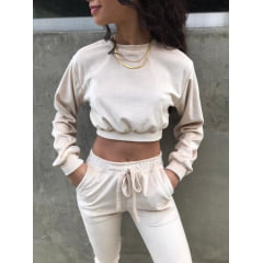 Conjunto Cropped plush nude
