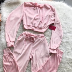 Conjunto Cropped plush rosa