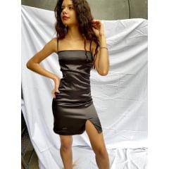 Vestido Cetim Reto com Fenda