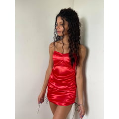 Vestido Princesa Cetim Decote